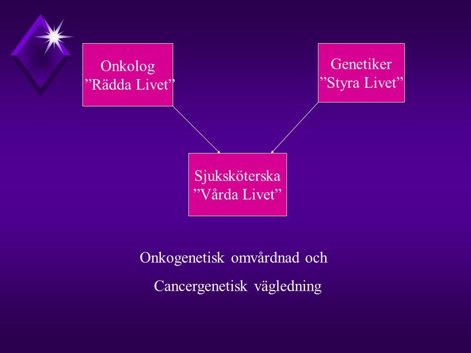 Onkolog Rädda Livet Genetiker Styra Livet Sjuksköterska Vårda Livet Onkogenetisk omvårdnad och Cancergenetisk vägledning