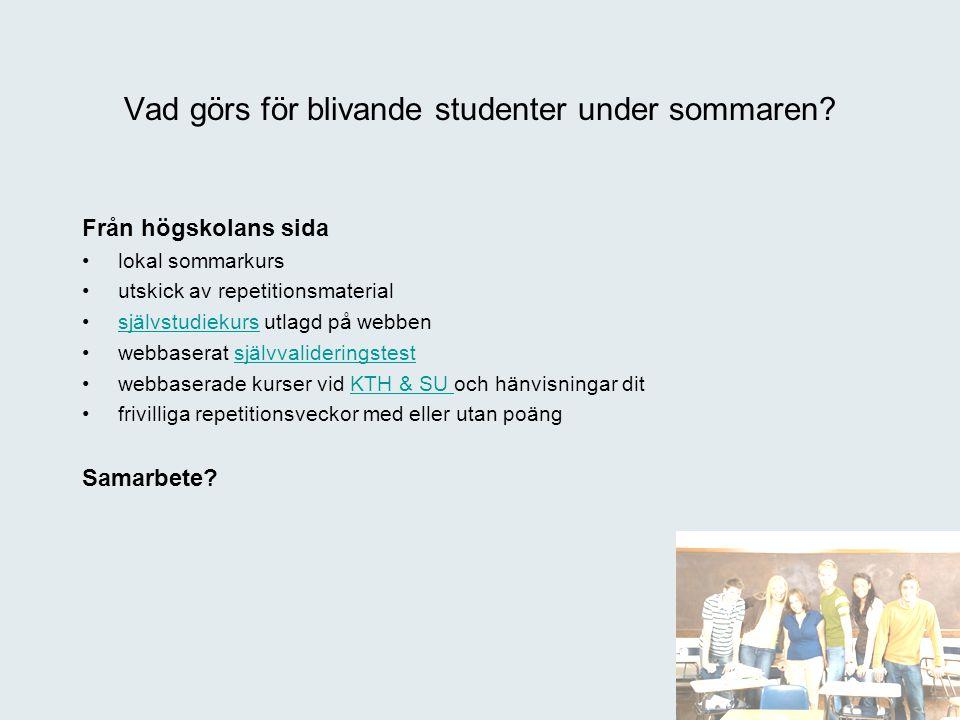 Från högskolans sida lokal sommarkurs utskick av repetitionsmaterial självstudiekurs utlagd på webbensjälvstudiekurs webbaserat självvalideringstestsj