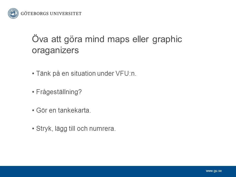 www.gu.se Öva att göra mind maps eller graphic oraganizers Tänk på en situation under VFU:n. Frågeställning? Gör en tankekarta. Stryk, lägg till och n