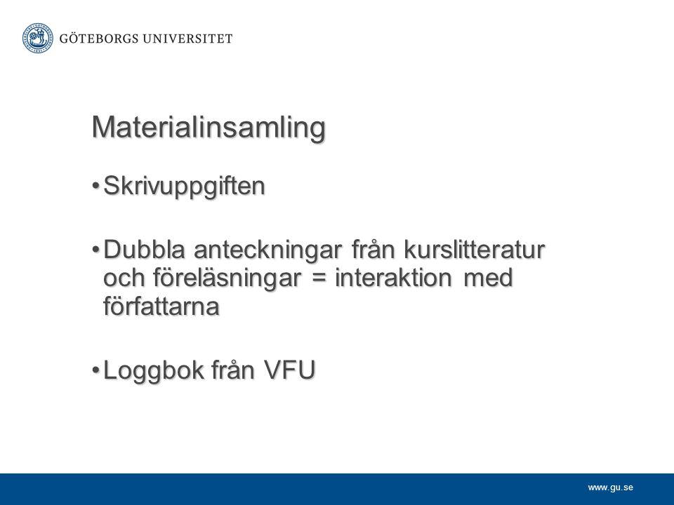 www.gu.se Materialinsamling SkrivuppgiftenSkrivuppgiften Dubbla anteckningar från kurslitteratur och föreläsningar = interaktion med författarnaDubbla