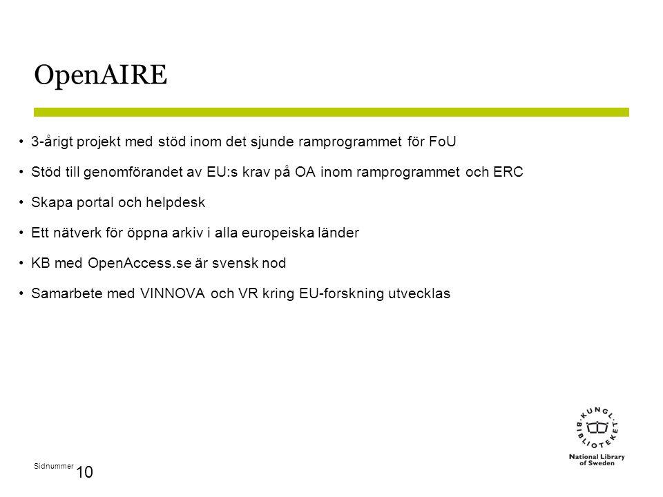 Sidnummer 10 OpenAIRE 3-årigt projekt med stöd inom det sjunde ramprogrammet för FoU Stöd till genomförandet av EU:s krav på OA inom ramprogrammet och