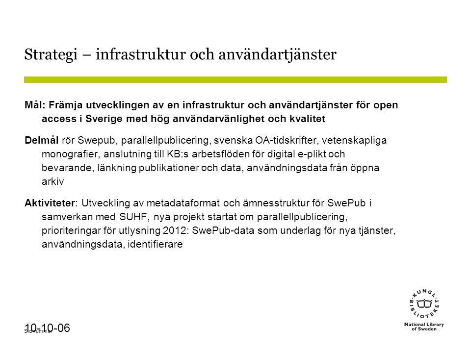 Sidnummer 10-10-06 Strategi – infrastruktur och användartjänster Mål: Främja utvecklingen av en infrastruktur och användartjänster för open access i S
