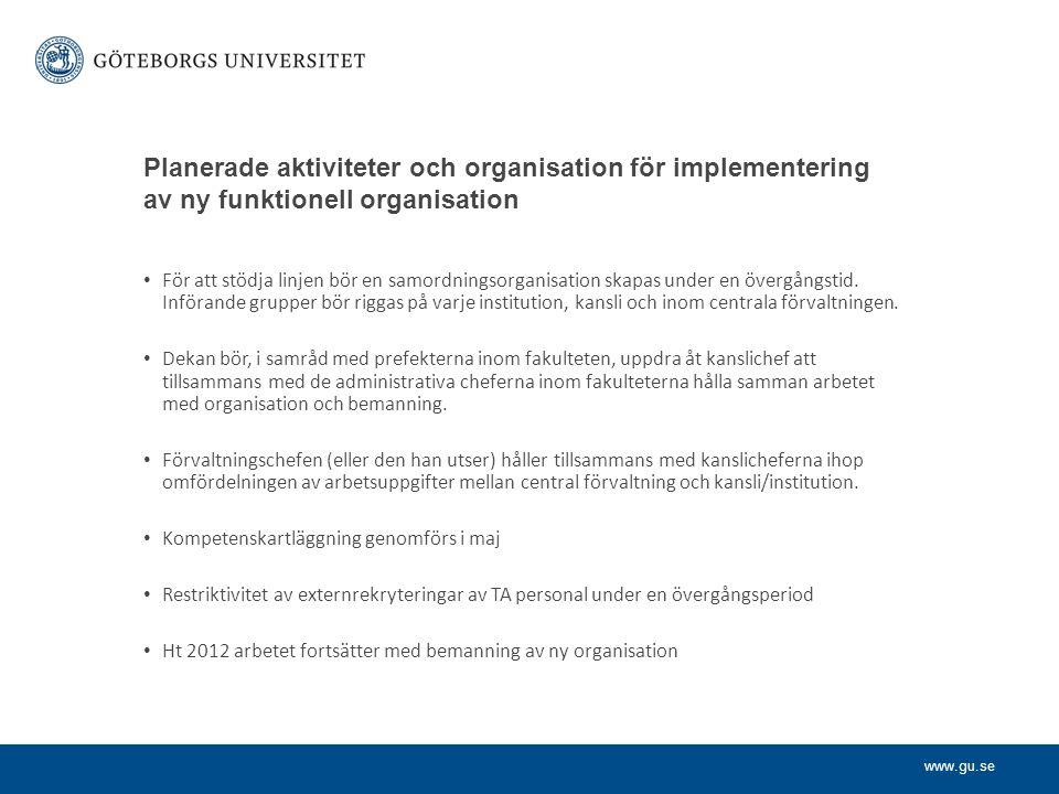 www.gu.se Planerade aktiviteter och organisation för implementering av ny funktionell organisation För att stödja linjen bör en samordningsorganisation skapas under en övergångstid.