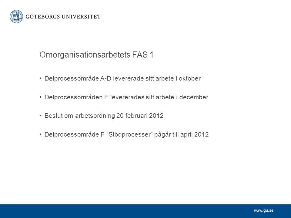 www.gu.se Omorganisationsarbetets FAS 1 Delprocessområde A-D levererade sitt arbete i oktober Delprocessområden E levererades sitt arbete i december B