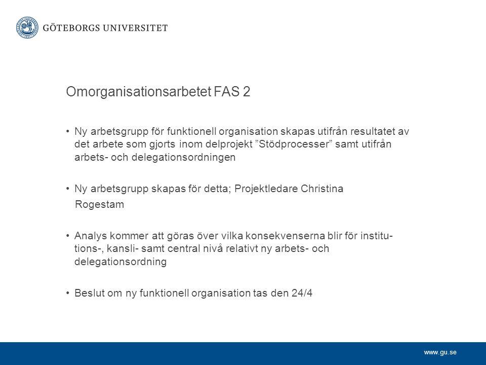 www.gu.se Omorganisationsarbetet FAS 2 Ny arbetsgrupp för funktionell organisation skapas utifrån resultatet av det arbete som gjorts inom delprojekt