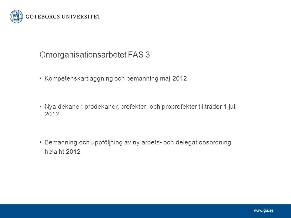 www.gu.se Omorganisationsarbetet FAS 3 Kompetenskartläggning och bemanning maj 2012 Nya dekaner, prodekaner, prefekter och proprefekter tillträder 1 juli 2012 Bemanning och uppföljning av ny arbets- och delegationsordning hela ht 2012
