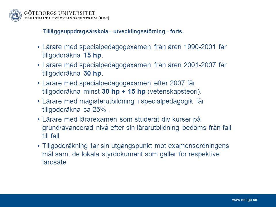 www.ruc.gu.se Tilläggsuppdrag särskola - utvecklingsstörning Speciallärarprogrammet, Specialisering Utvecklingsstörning. Ingår i Lärarlyftet, 90 hp –H