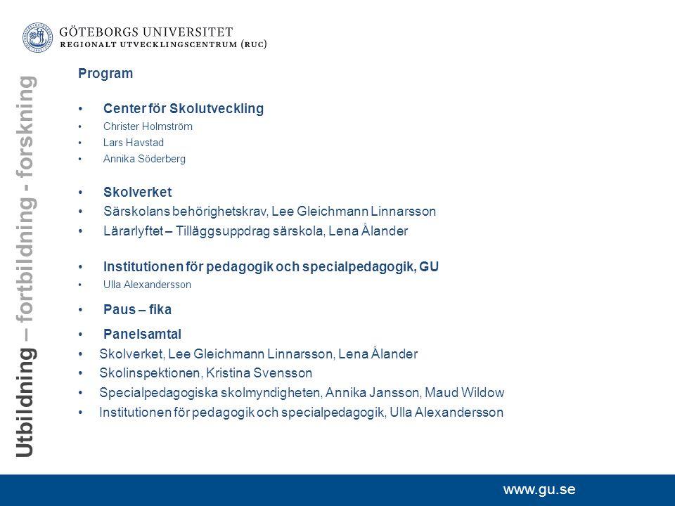 """www.gu.se RUC Lärarutbildning""""Skola"""" Skola på vetenskaplig grund Samverkan"""