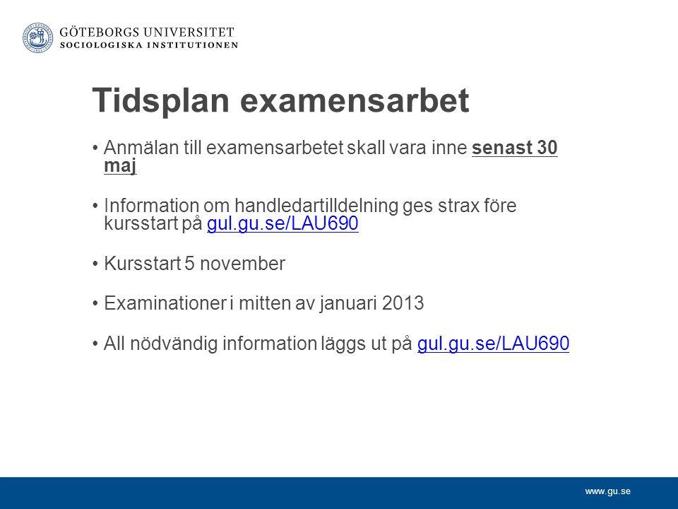 www.gu.se Tidsplan examensarbet Anmälan till examensarbetet skall vara inne senast 30 maj Information om handledartilldelning ges strax före kursstart