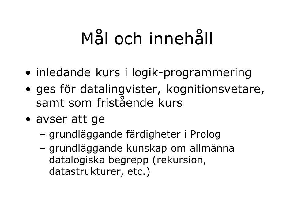 Lärare –Staffan Larsson (kursansvarig): v.42, 46 –Rebecca Jonson: v.36, 38, 39 –Kenneth Wilhelmsson: v.44, 45, 47 –Pontus Johansson: v.40, 41, (49?) –David Hjelm: v.37, (43?) –Torbjörn Lager (ev.): v.