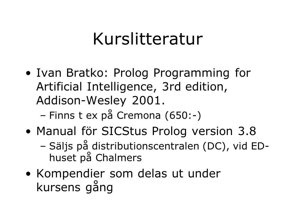 Kurslitteratur Ivan Bratko: Prolog Programming for Artificial Intelligence, 3rd edition, Addison-Wesley 2001. –Finns t ex på Cremona (650:-) Manual fö