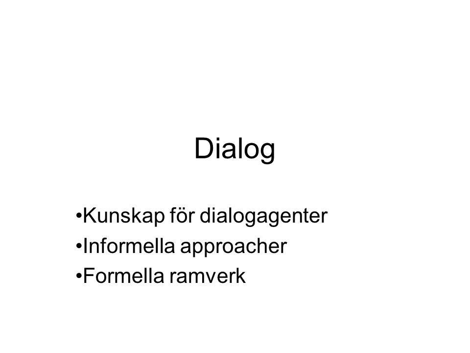 Dialog Kunskap för dialogagenter Informella approacher Formella ramverk