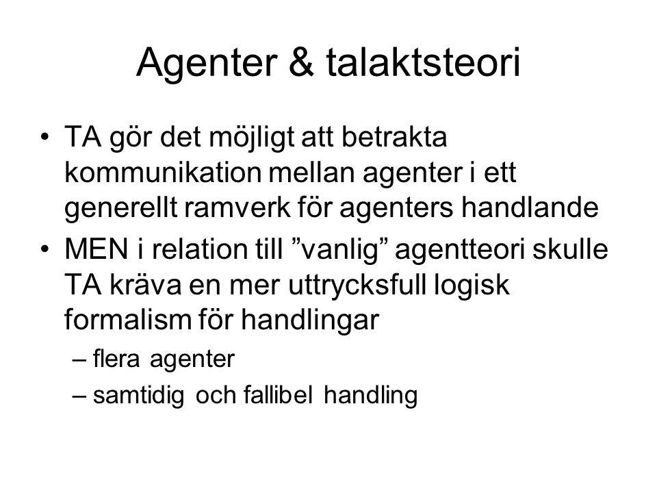 Agenter & talaktsteori TA gör det möjligt att betrakta kommunikation mellan agenter i ett generellt ramverk för agenters handlande MEN i relation till