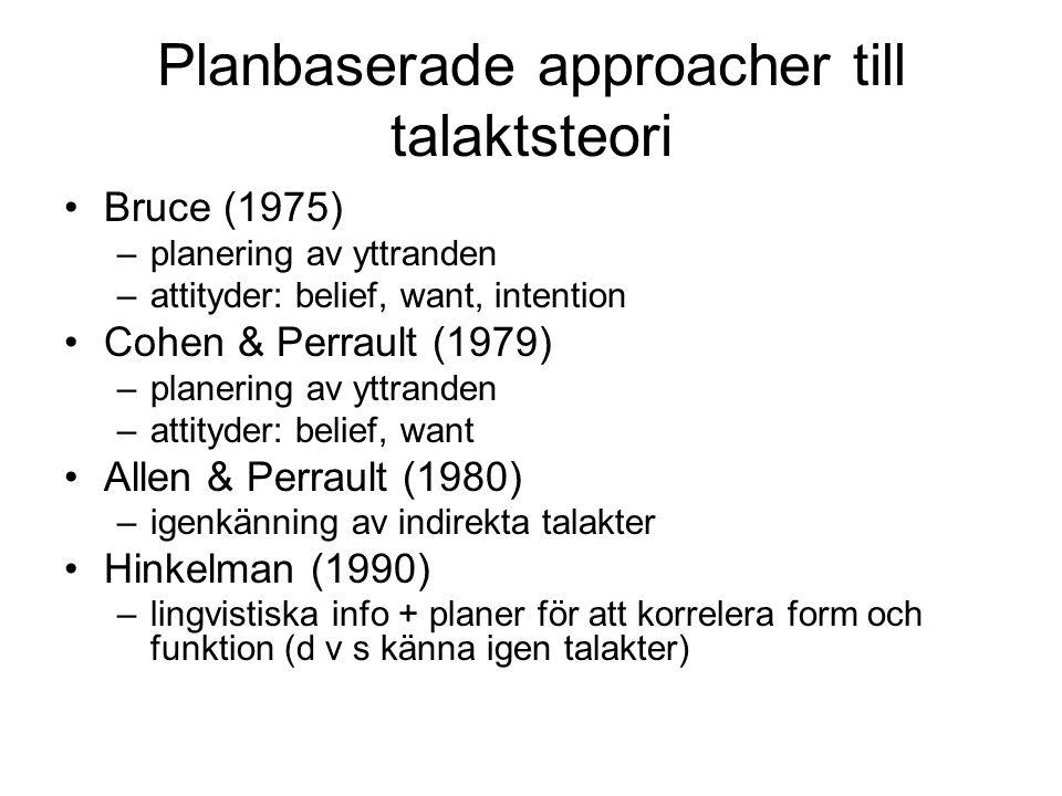 Planbaserade approacher till talaktsteori Bruce (1975) –planering av yttranden –attityder: belief, want, intention Cohen & Perrault (1979) –planering av yttranden –attityder: belief, want Allen & Perrault (1980) –igenkänning av indirekta talakter Hinkelman (1990) –lingvistiska info + planer för att korrelera form och funktion (d v s känna igen talakter)