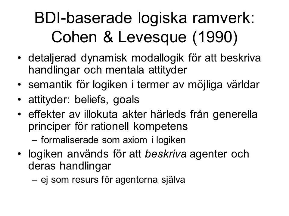 BDI-baserade logiska ramverk: Cohen & Levesque (1990) detaljerad dynamisk modallogik för att beskriva handlingar och mentala attityder semantik för logiken i termer av möjliga världar attityder: beliefs, goals effekter av illokuta akter härleds från generella principer för rationell kompetens –formaliserade som axiom i logiken logiken används för att beskriva agenter och deras handlingar –ej som resurs för agenterna själva