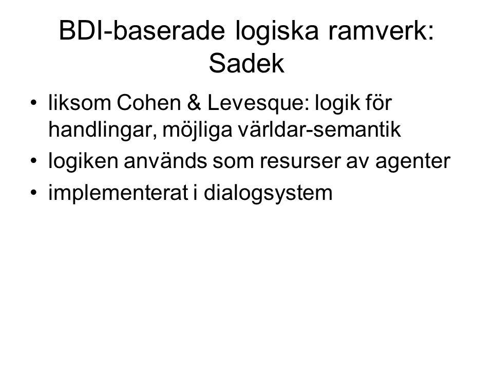 BDI-baserade logiska ramverk: Sadek liksom Cohen & Levesque: logik för handlingar, möjliga världar-semantik logiken används som resurser av agenter implementerat i dialogsystem