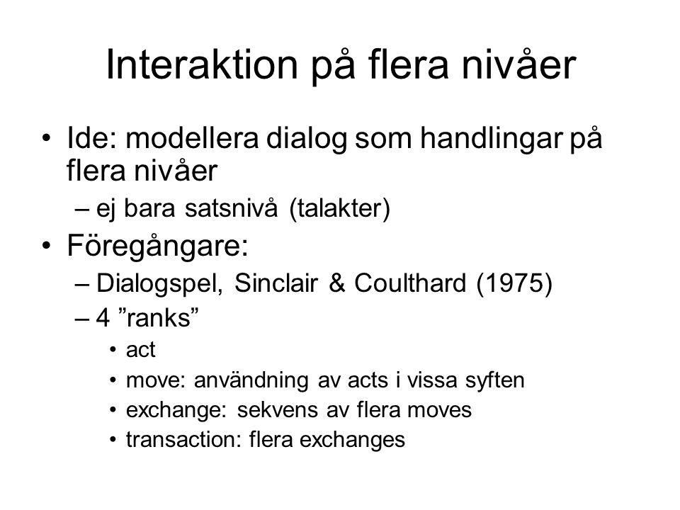 Interaktion på flera nivåer Ide: modellera dialog som handlingar på flera nivåer –ej bara satsnivå (talakter) Föregångare: –Dialogspel, Sinclair & Coulthard (1975) –4 ranks act move: användning av acts i vissa syften exchange: sekvens av flera moves transaction: flera exchanges