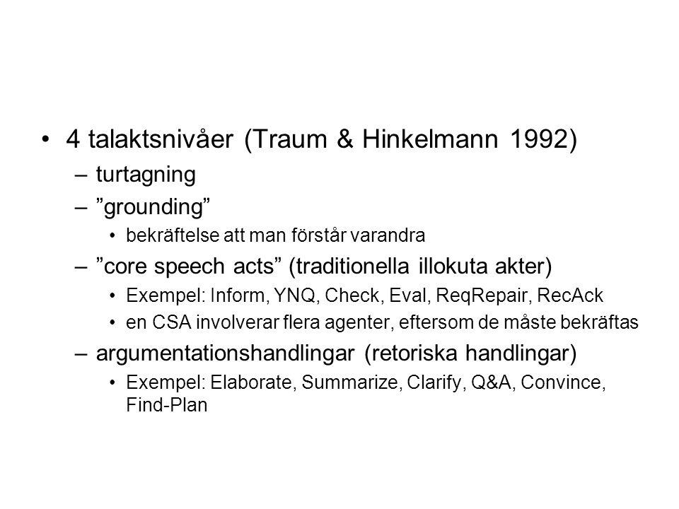 4 talaktsnivåer (Traum & Hinkelmann 1992) –turtagning – grounding bekräftelse att man förstår varandra – core speech acts (traditionella illokuta akter) Exempel: Inform, YNQ, Check, Eval, ReqRepair, RecAck en CSA involverar flera agenter, eftersom de måste bekräftas –argumentationshandlingar (retoriska handlingar) Exempel: Elaborate, Summarize, Clarify, Q&A, Convince, Find-Plan