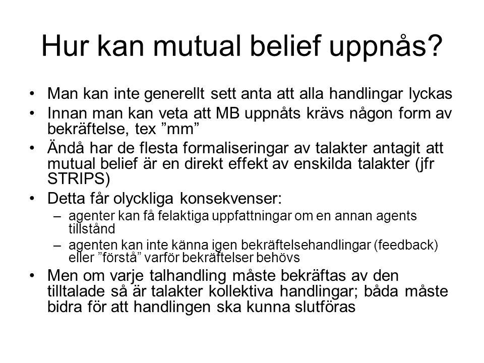 Hur kan mutual belief uppnås? Man kan inte generellt sett anta att alla handlingar lyckas Innan man kan veta att MB uppnåts krävs någon form av bekräf