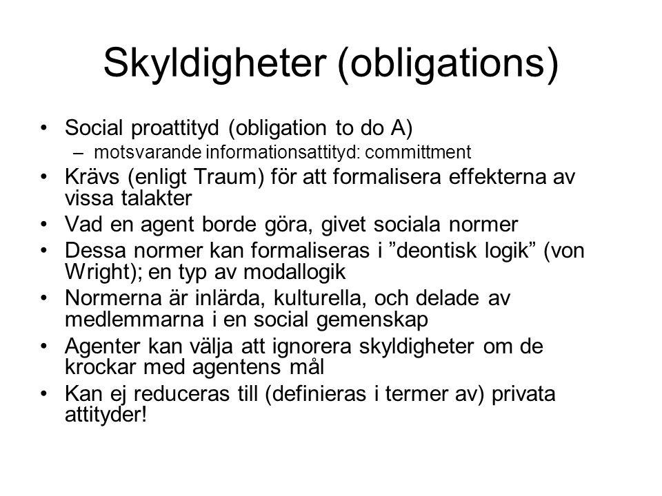 Skyldigheter (obligations) Social proattityd (obligation to do A) –motsvarande informationsattityd: committment Krävs (enligt Traum) för att formalise