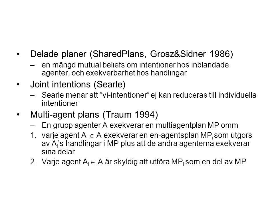 Delade planer (SharedPlans, Grosz&Sidner 1986) –en mängd mutual beliefs om intentioner hos inblandade agenter, och exekverbarhet hos handlingar Joint intentions (Searle) –Searle menar att vi-intentioner ej kan reduceras till individuella intentioner Multi-agent plans (Traum 1994) –En grupp agenter A exekverar en multiagentplan MP omm 1.varje agent A i  A exekverar en en-agentsplan MP i som utgörs av A i 's handlingar i MP plus att de andra agenterna exekverar sina delar 2.Varje agent A i  A är skyldig att utföra MP i som en del av MP