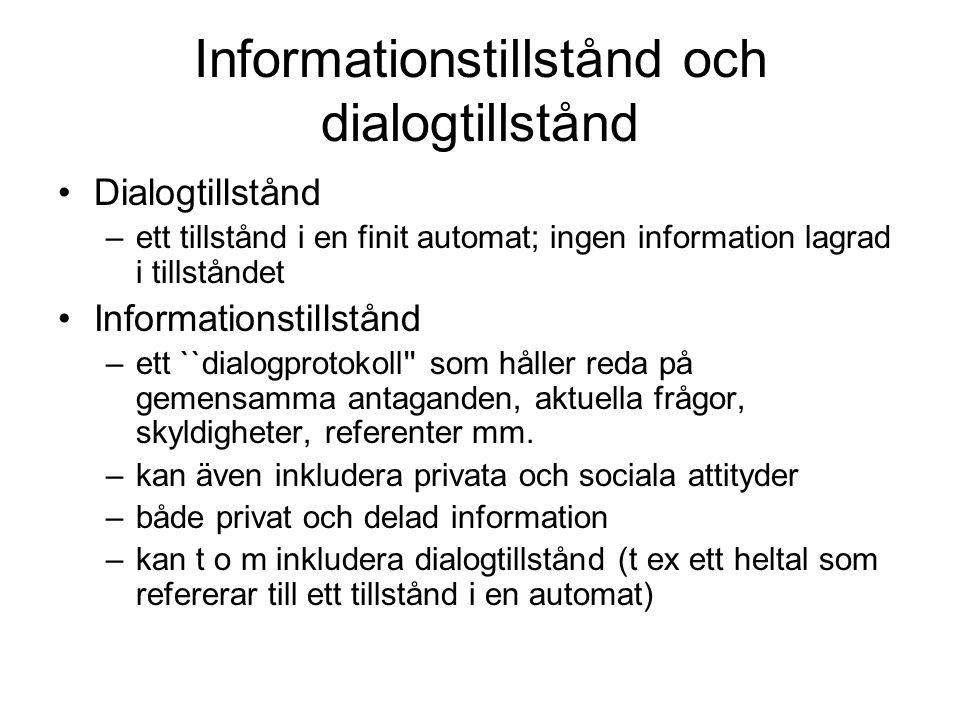 Informationstillstånd och dialogtillstånd Dialogtillstånd –ett tillstånd i en finit automat; ingen information lagrad i tillståndet Informationstillst