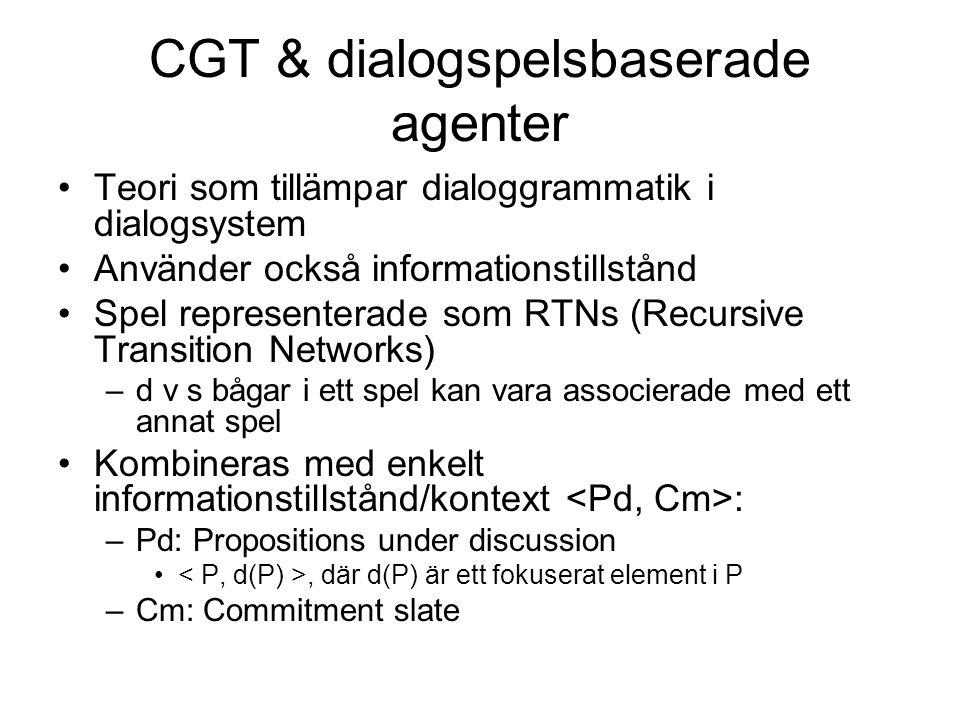 CGT & dialogspelsbaserade agenter Teori som tillämpar dialoggrammatik i dialogsystem Använder också informationstillstånd Spel representerade som RTNs (Recursive Transition Networks) –d v s bågar i ett spel kan vara associerade med ett annat spel Kombineras med enkelt informationstillstånd/kontext : –Pd: Propositions under discussion, där d(P) är ett fokuserat element i P –Cm: Commitment slate