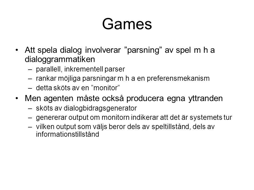 """Games Att spela dialog involverar """"parsning"""" av spel m h a dialoggrammatiken –parallell, inkrementell parser –rankar möjliga parsningar m h a en prefe"""