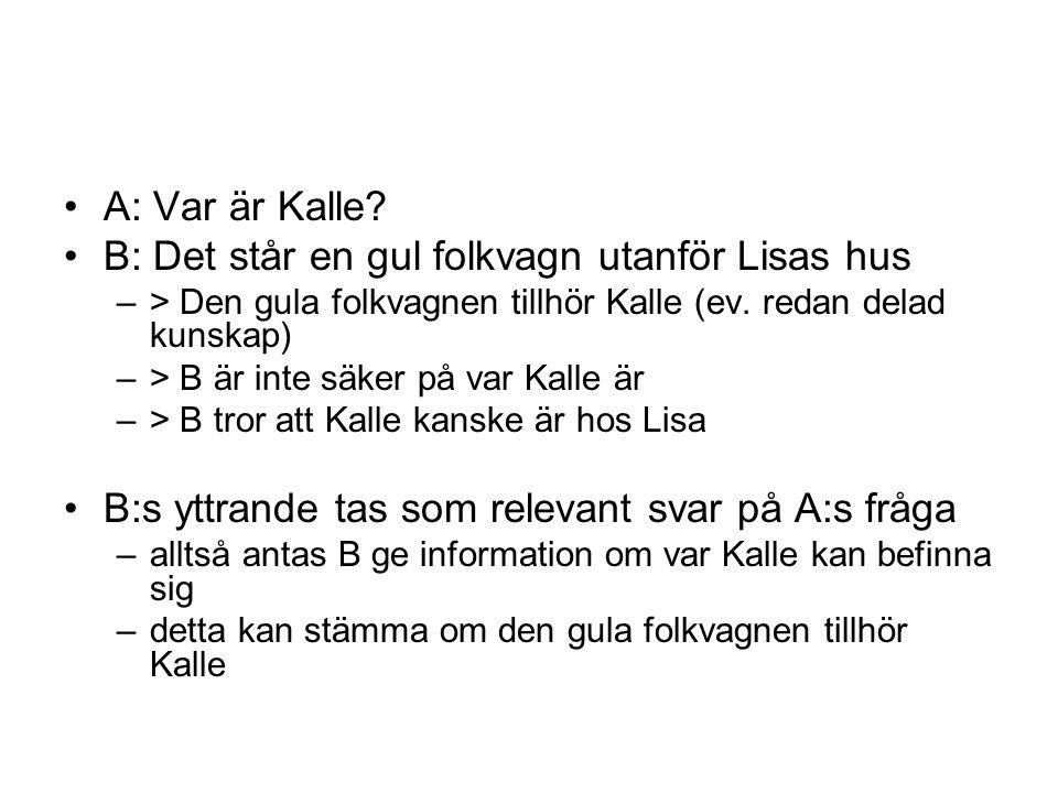 A: Var är Kalle? B: Det står en gul folkvagn utanför Lisas hus –> Den gula folkvagnen tillhör Kalle (ev. redan delad kunskap) –> B är inte säker på va