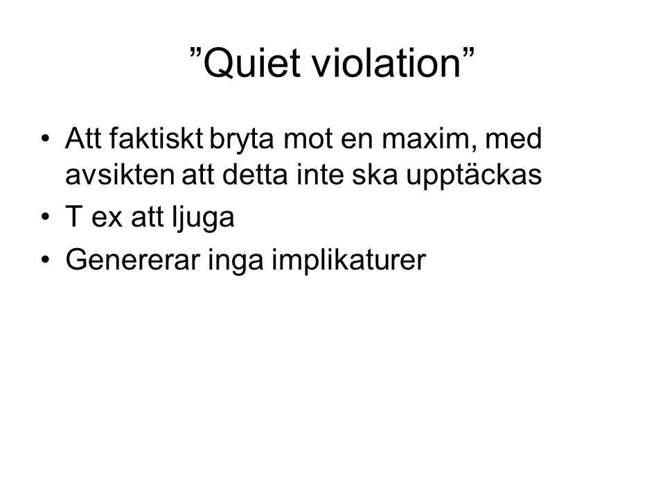 """""""Quiet violation"""" Att faktiskt bryta mot en maxim, med avsikten att detta inte ska upptäckas T ex att ljuga Genererar inga implikaturer"""