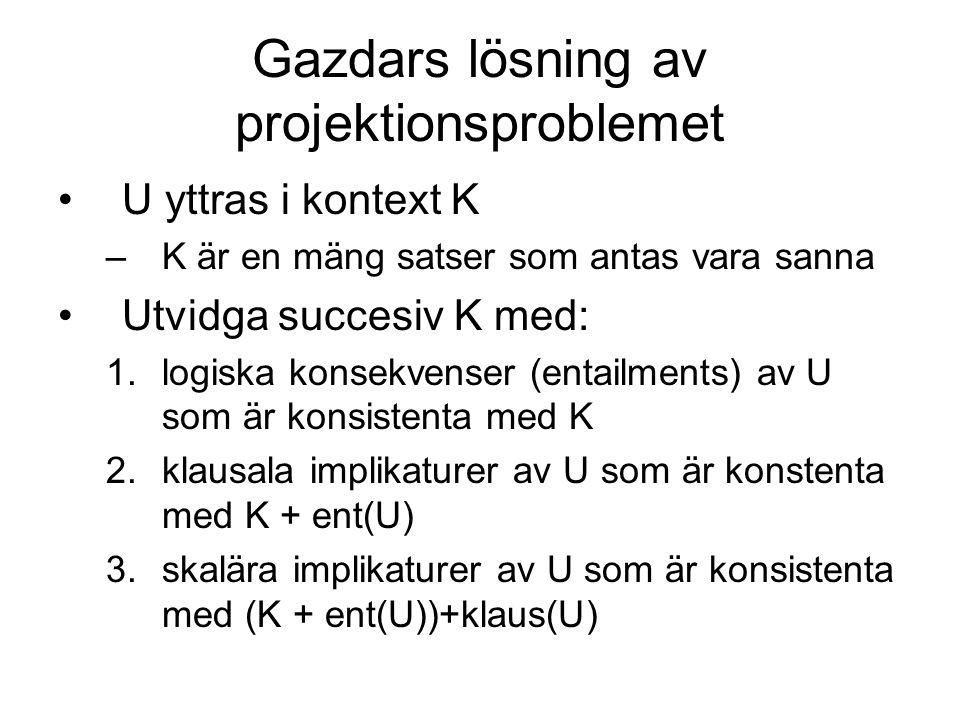 Gazdars lösning av projektionsproblemet U yttras i kontext K –K är en mäng satser som antas vara sanna Utvidga succesiv K med: 1.logiska konsekvenser (entailments) av U som är konsistenta med K 2.klausala implikaturer av U som är konstenta med K + ent(U) 3.skalära implikaturer av U som är konsistenta med (K + ent(U))+klaus(U)