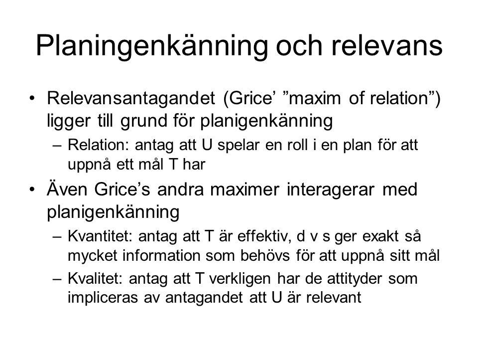 """Planingenkänning och relevans Relevansantagandet (Grice' """"maxim of relation"""") ligger till grund för planigenkänning –Relation: antag att U spelar en r"""