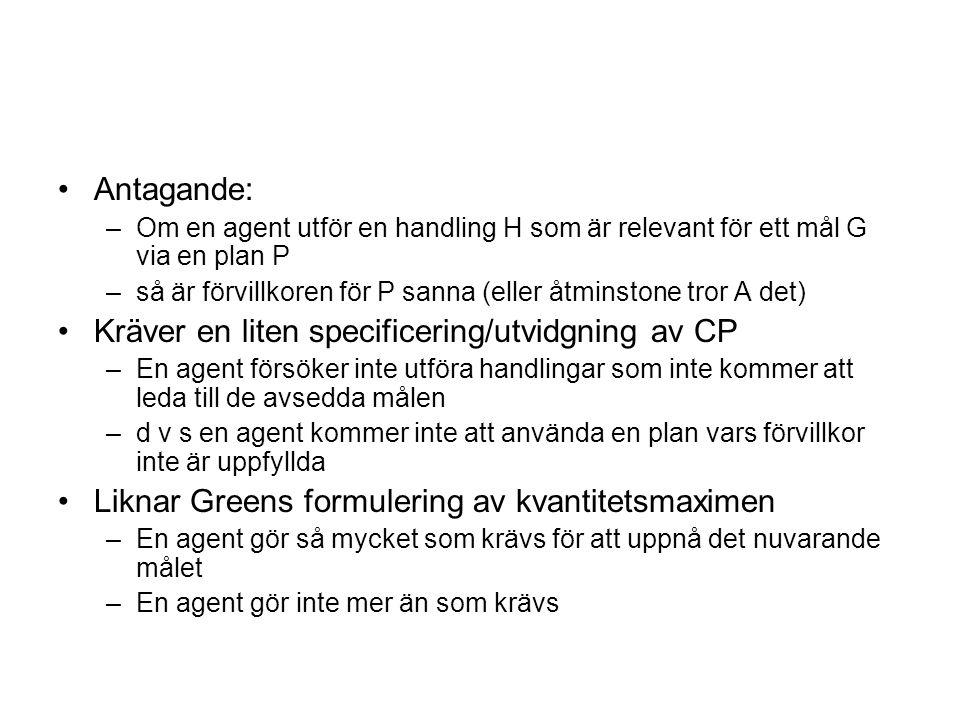 Antagande: –Om en agent utför en handling H som är relevant för ett mål G via en plan P –så är förvillkoren för P sanna (eller åtminstone tror A det)