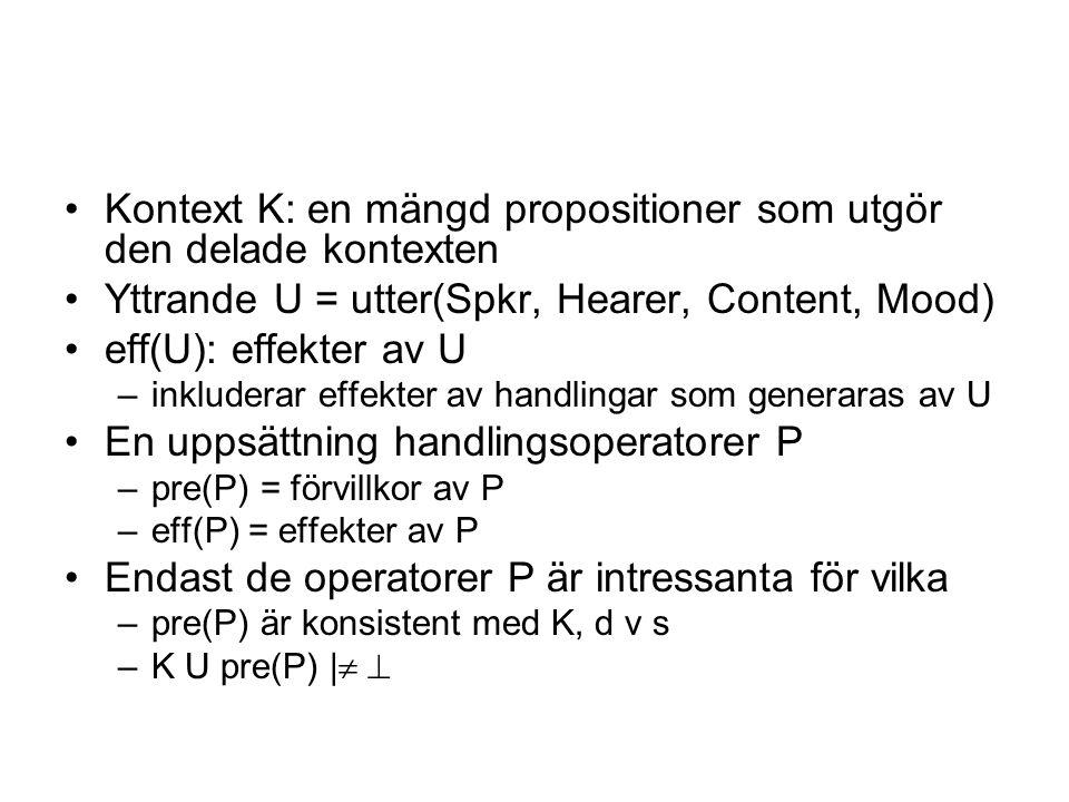 Kontext K: en mängd propositioner som utgör den delade kontexten Yttrande U = utter(Spkr, Hearer, Content, Mood) eff(U): effekter av U –inkluderar effekter av handlingar som generaras av U En uppsättning handlingsoperatorer P –pre(P) = förvillkor av P –eff(P) = effekter av P Endast de operatorer P är intressanta för vilka –pre(P) är konsistent med K, d v s –K U pre(P) | 