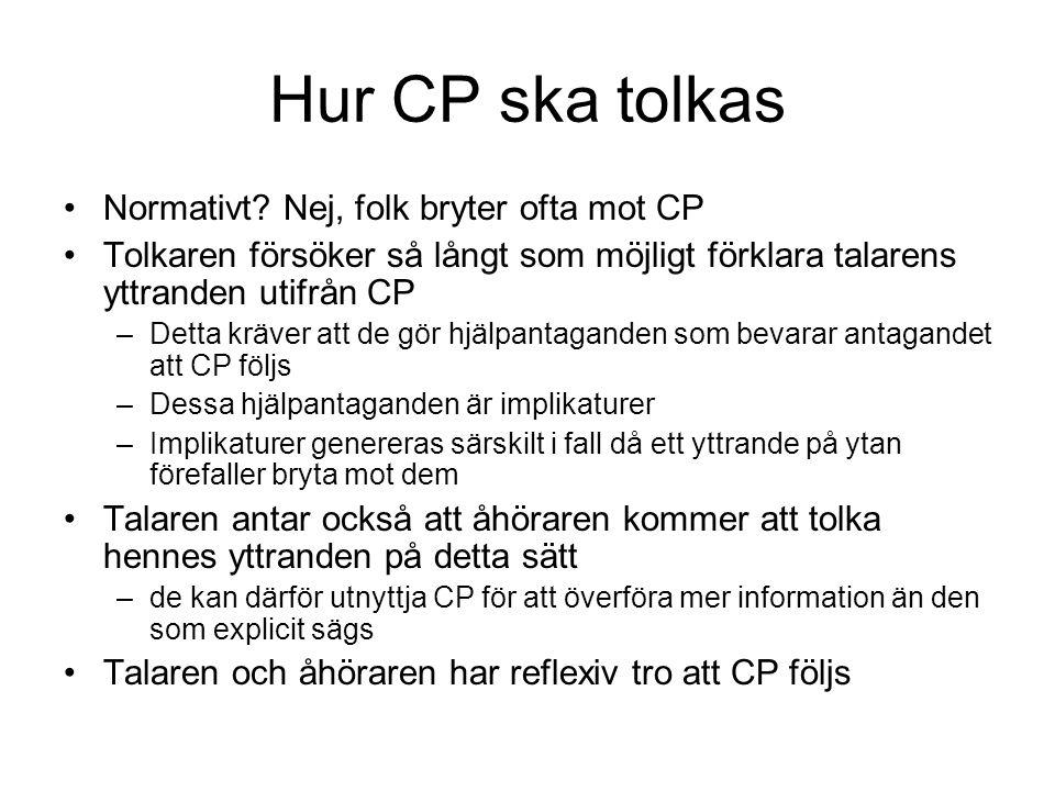 Hur CP ska tolkas Normativt? Nej, folk bryter ofta mot CP Tolkaren försöker så långt som möjligt förklara talarens yttranden utifrån CP –Detta kräver