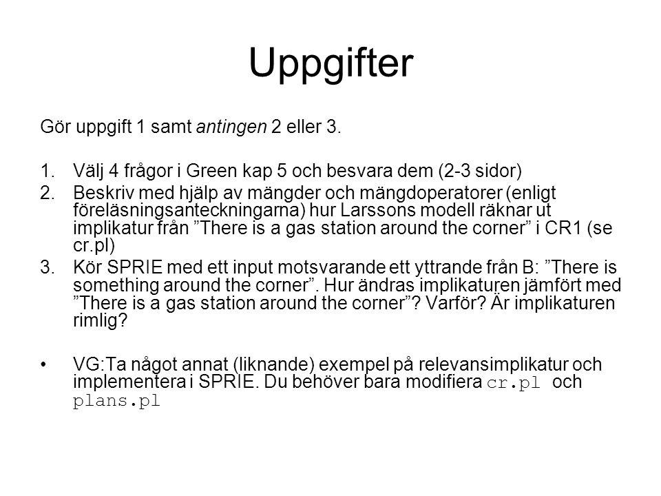 Uppgifter Gör uppgift 1 samt antingen 2 eller 3. 1.Välj 4 frågor i Green kap 5 och besvara dem (2-3 sidor) 2.Beskriv med hjälp av mängder och mängdope