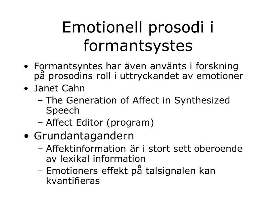 Emotionell prosodi i formantsystes Formantsyntes har även använts i forskning på prosodins roll i uttryckandet av emotioner Janet Cahn –The Generation