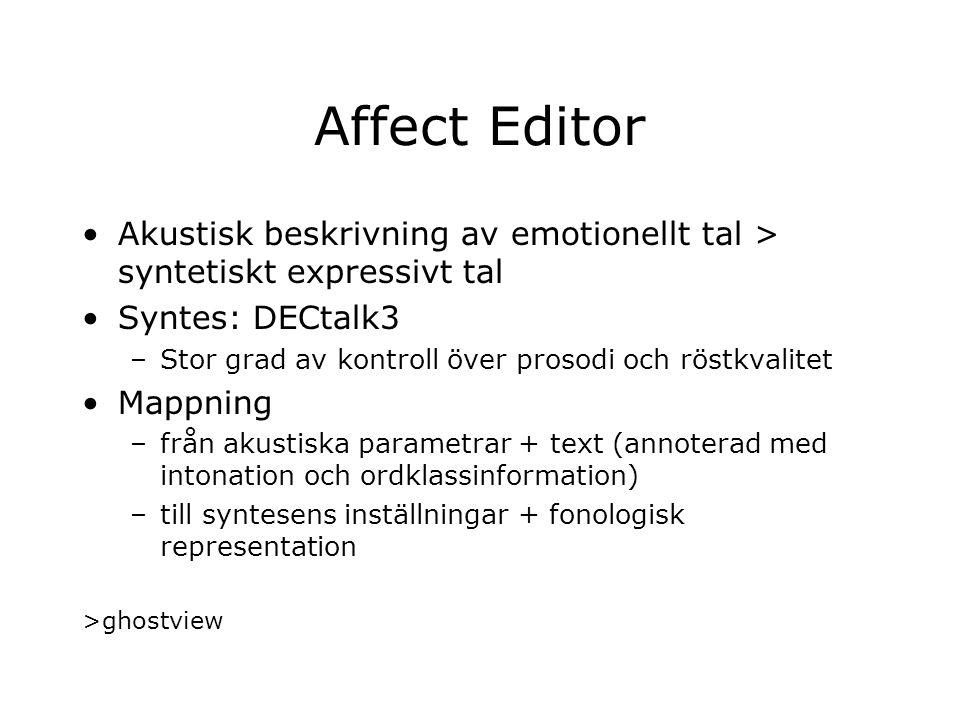 Affect Editor Akustisk beskrivning av emotionellt tal > syntetiskt expressivt tal Syntes: DECtalk3 –Stor grad av kontroll över prosodi och röstkvalite