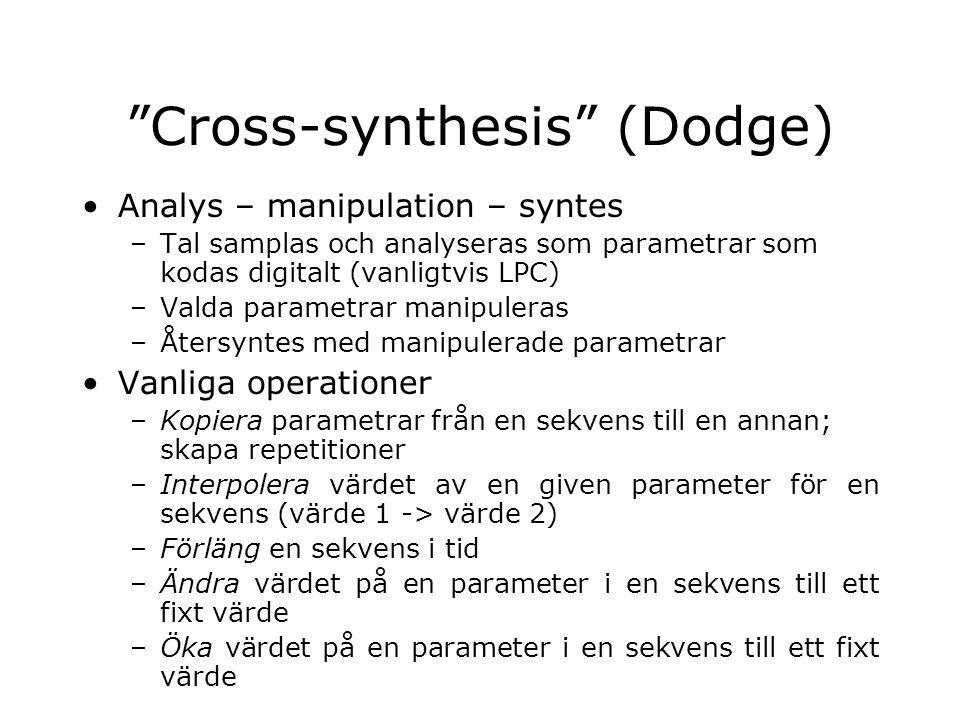 """""""Cross-synthesis"""" (Dodge) Analys – manipulation – syntes –Tal samplas och analyseras som parametrar som kodas digitalt (vanligtvis LPC) –Valda paramet"""