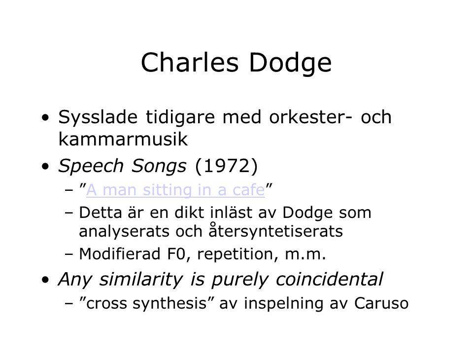 Charles Dodge Sysslade tidigare med orkester- och kammarmusik Speech Songs (1972) – A man sitting in a cafe A man sitting in a cafe –Detta är en dikt inläst av Dodge som analyserats och återsyntetiserats –Modifierad F0, repetition, m.m.