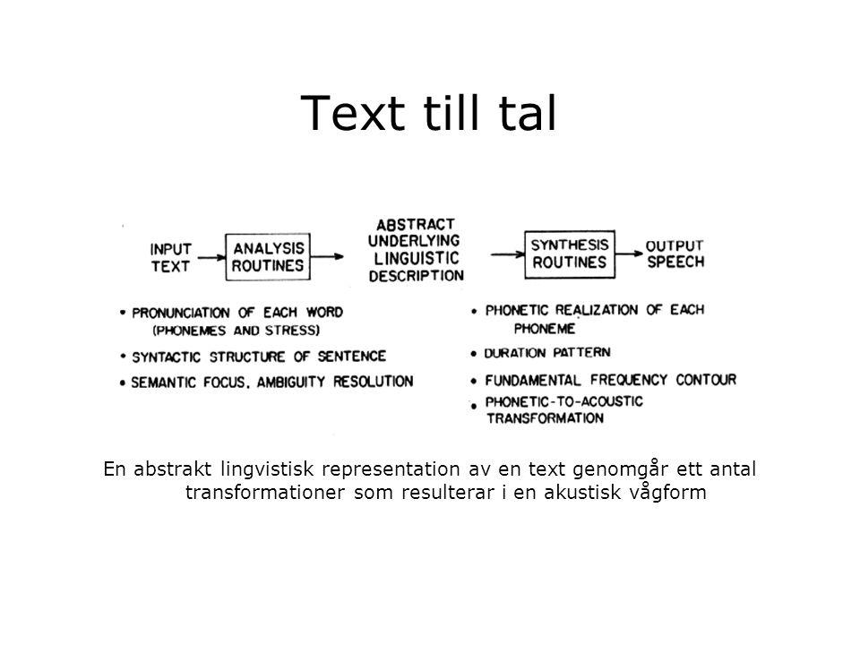 Text till tal En abstrakt lingvistisk representation av en text genomgår ett antal transformationer som resulterar i en akustisk vågform
