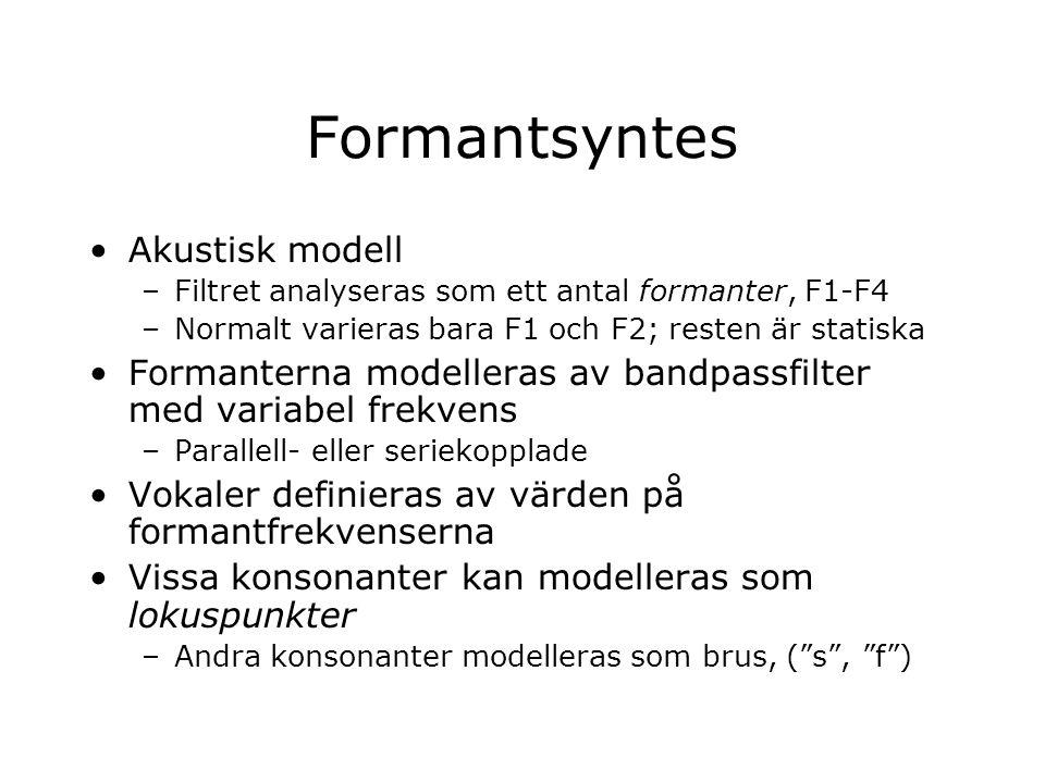 Formantsyntes Akustisk modell –Filtret analyseras som ett antal formanter, F1-F4 –Normalt varieras bara F1 och F2; resten är statiska Formanterna mode