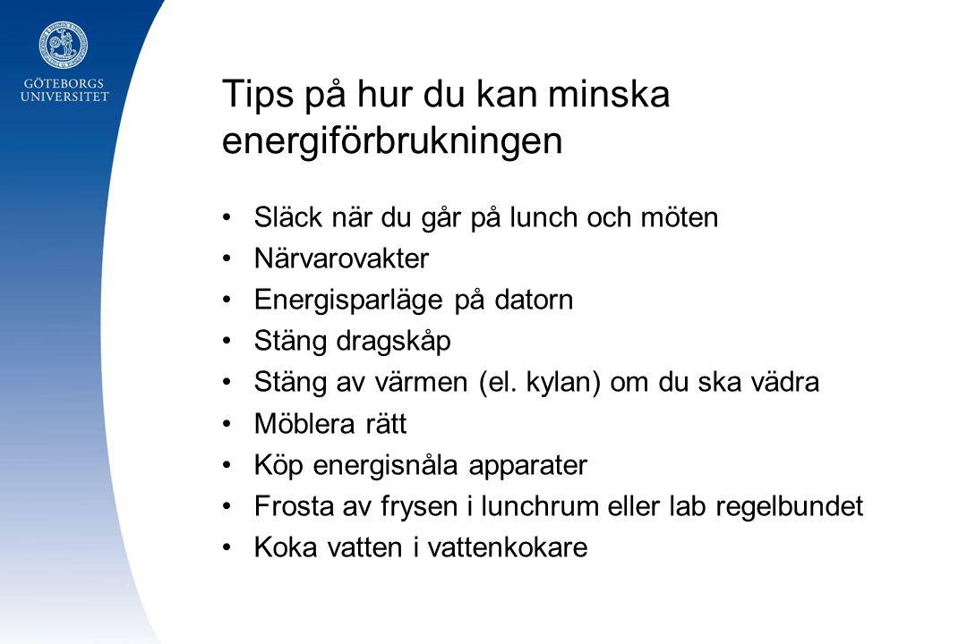 Tips på hur du kan minska energiförbrukningen Släck när du går på lunch och möten Närvarovakter Energisparläge på datorn Stäng dragskåp Stäng av värme