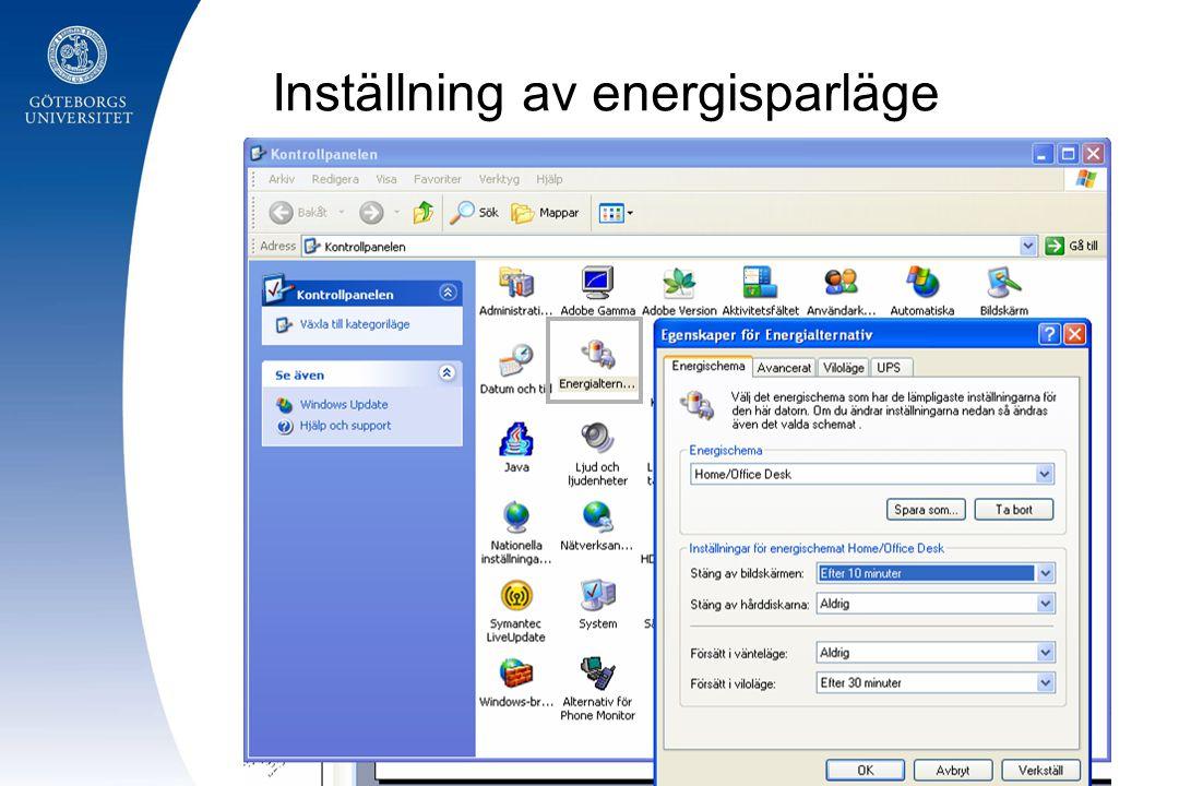 Inställning av energisparläge