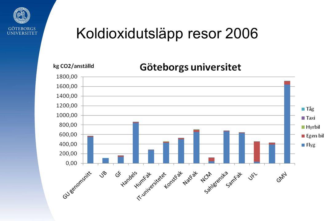 Koldioxidutsläpp resor 2006