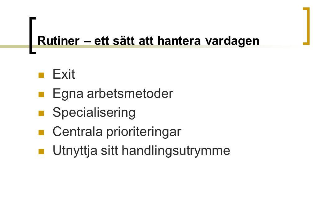 Rutiner – ett sätt att hantera vardagen Exit Egna arbetsmetoder Specialisering Centrala prioriteringar Utnyttja sitt handlingsutrymme