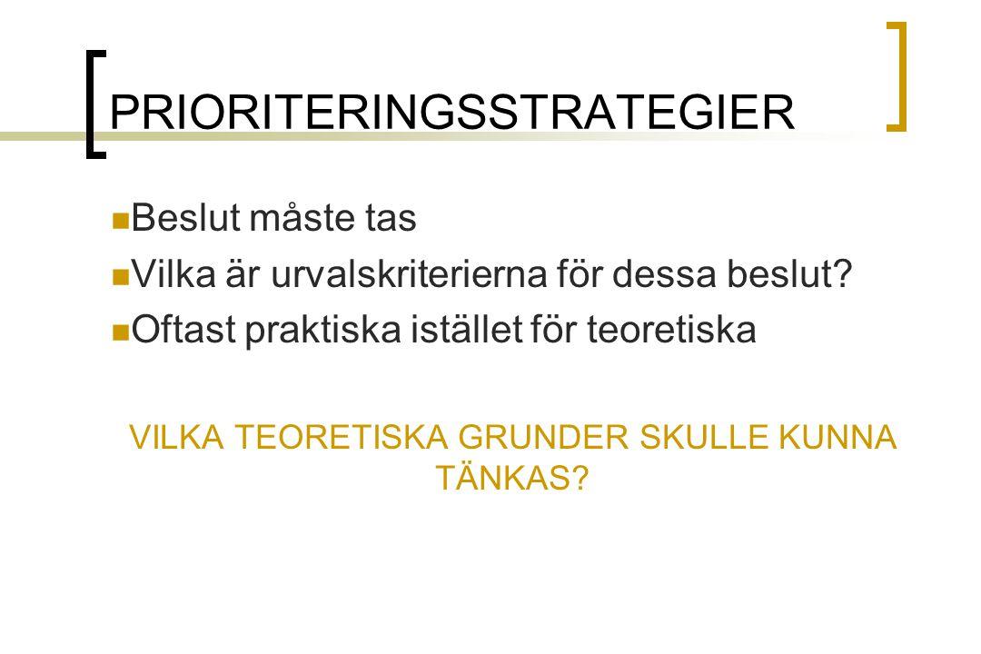 PRIORITERINGSSTRATEGIER Beslut måste tas Vilka är urvalskriterierna för dessa beslut.