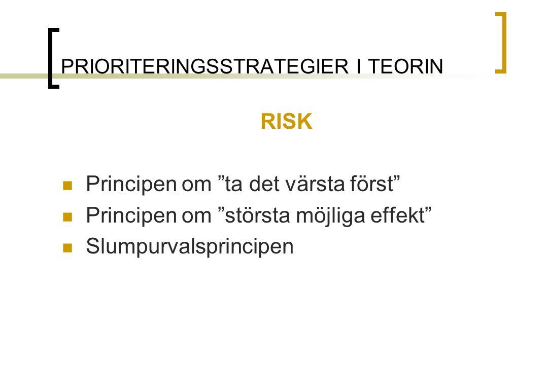 PRIORITERINGSSTRATEGIER I TEORIN RISK Principen om ta det värsta först Principen om största möjliga effekt Slumpurvalsprincipen