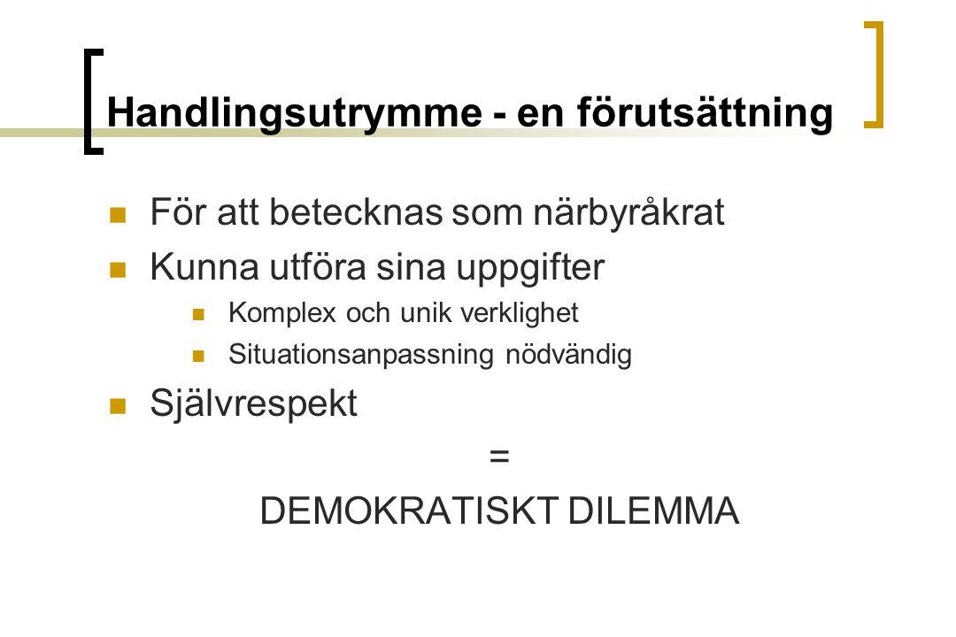 Handlingsutrymme - en förutsättning För att betecknas som närbyråkrat Kunna utföra sina uppgifter Komplex och unik verklighet Situationsanpassning nödvändig Självrespekt = DEMOKRATISKT DILEMMA