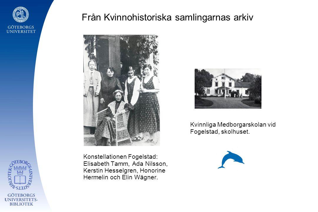 Från Kvinnohistoriska samlingarnas arkiv Konstellationen Fogelstad: Elisabeth Tamm, Ada Nilsson, Kerstin Hesselgren, Honorine Hermelin och Elin Wägner.